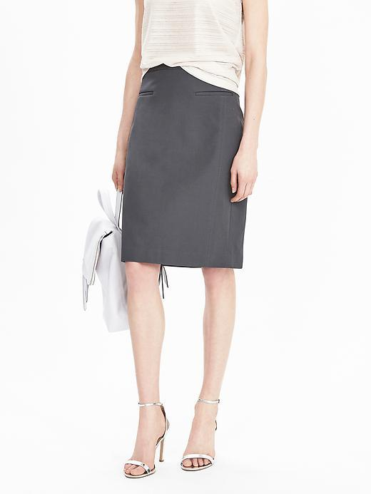 Lightweight Pencil Skirt Dark Charcoal - pattern: plain; style: pencil; fit: tailored/fitted; waist: high rise; predominant colour: charcoal; occasions: work; length: just above the knee; fibres: cotton - mix; texture group: cotton feel fabrics; pattern type: fabric; season: s/s 2016
