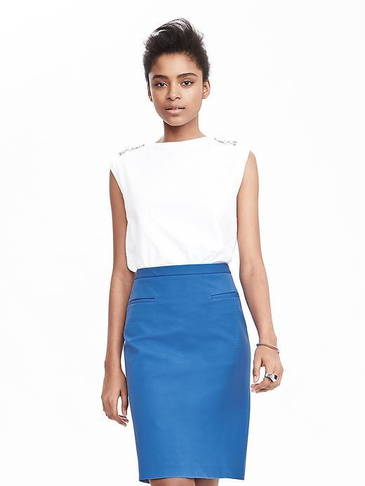 Lightweight Pencil Skirt Harbor Blue - pattern: plain; style: pencil; fit: tailored/fitted; waist: high rise; predominant colour: diva blue; length: just above the knee; fibres: cotton - stretch; texture group: cotton feel fabrics; pattern type: fabric; occasions: creative work; season: s/s 2016; wardrobe: highlight