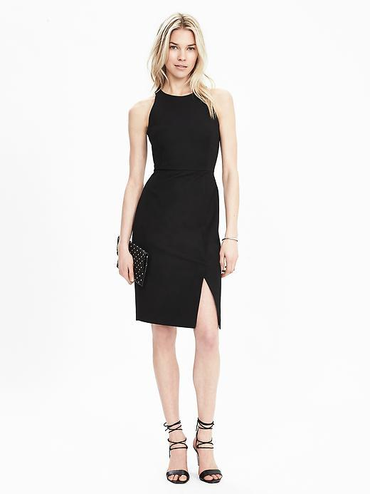 Sleeveless Shift Dress Black - fit: tight; pattern: plain; sleeve style: sleeveless; style: bodycon; predominant colour: black; occasions: evening; length: on the knee; fibres: viscose/rayon - stretch; neckline: crew; hip detail: slits at hip; sleeve length: sleeveless; texture group: jersey - clingy; pattern type: fabric; season: s/s 2016; wardrobe: event