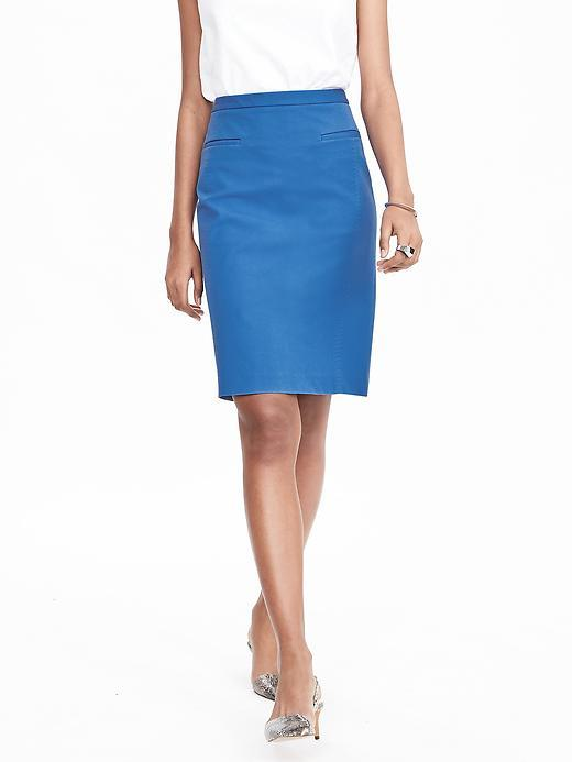 Pencil Pocket Skirt Harbor Blue - pattern: plain; style: pencil; fit: tailored/fitted; waist: high rise; predominant colour: diva blue; occasions: work; length: just above the knee; fibres: cotton - stretch; texture group: cotton feel fabrics; pattern type: fabric; season: s/s 2016