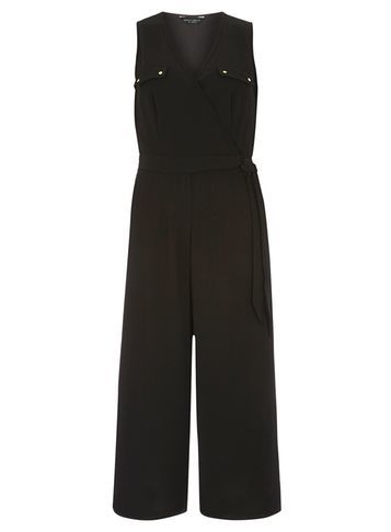 Womens Black Wrap Jumpsuit Black - neckline: v-neck; fit: fitted at waist; pattern: plain; sleeve style: sleeveless; predominant colour: black; length: calf length; fibres: polyester/polyamide - stretch; sleeve length: sleeveless; style: jumpsuit; pattern type: fabric; texture group: other - light to midweight; occasions: creative work; season: s/s 2016; wardrobe: highlight