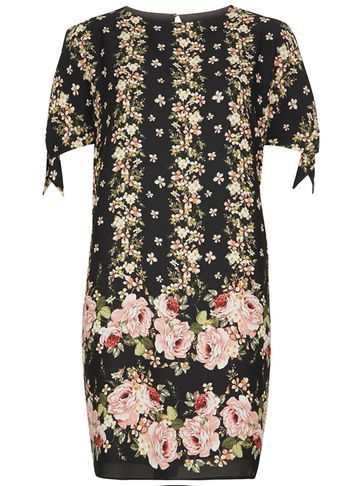 Womens Floral Tie Sleeve Shift Dress Fl Multi - style: shift; secondary colour: blush; predominant colour: black; length: just above the knee; fit: body skimming; fibres: polyester/polyamide - 100%; neckline: crew; sleeve length: short sleeve; sleeve style: standard; pattern type: fabric; pattern size: standard; pattern: florals; texture group: other - light to midweight; occasions: creative work; season: s/s 2016; wardrobe: highlight