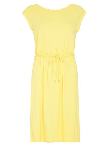 Womens Yellow V Back Midi Dress Yellow - style: shift; neckline: round neck; sleeve style: capped; fit: fitted at waist; pattern: plain; waist detail: belted waist/tie at waist/drawstring; predominant colour: primrose yellow; occasions: casual; length: just above the knee; fibres: viscose/rayon - stretch; sleeve length: sleeveless; texture group: cotton feel fabrics; pattern type: fabric; season: s/s 2016; wardrobe: highlight