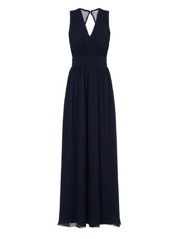 Womens *Chi Chi London Blue V Neck Maxi Dress Blue - neckline: low v-neck; pattern: plain; sleeve style: sleeveless; style: maxi dress; predominant colour: navy; occasions: evening, occasion; length: floor length; fit: fitted at waist & bust; fibres: polyester/polyamide - 100%; back detail: keyhole/peephole detail at back; sleeve length: sleeveless; texture group: crepes; pattern type: fabric; pattern size: standard; season: s/s 2016; wardrobe: event
