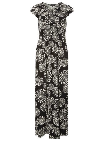 Womens **Mela Dandelion Maxi Dress Black - neckline: v-neck; sleeve style: capped; style: maxi dress; secondary colour: mid grey; predominant colour: black; occasions: evening; length: floor length; fit: body skimming; fibres: polyester/polyamide - 100%; sleeve length: short sleeve; pattern type: fabric; pattern: florals; texture group: jersey - stretchy/drapey; multicoloured: multicoloured; season: s/s 2016