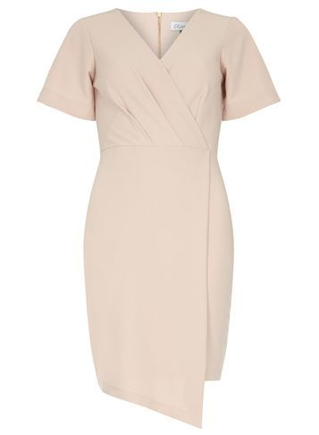 Womens **Closet Cross Over Wrap Dress Pink - style: faux wrap/wrap; neckline: v-neck; fit: tailored/fitted; pattern: plain; predominant colour: blush; occasions: evening; length: just above the knee; fibres: polyester/polyamide - stretch; sleeve length: short sleeve; sleeve style: standard; pattern type: fabric; texture group: woven light midweight; season: s/s 2016; wardrobe: event