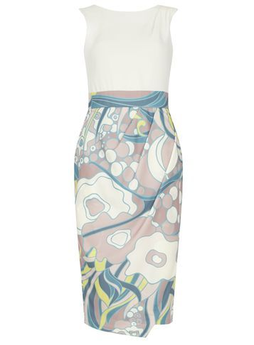 Womens **Closet Multi Floral Drape Dress Multi Colour - style: shift; length: below the knee; fit: tailored/fitted; sleeve style: sleeveless; back detail: back revealing; predominant colour: ivory/cream; secondary colour: blush; occasions: evening, occasion; fibres: viscose/rayon - 100%; neckline: crew; sleeve length: sleeveless; pattern type: fabric; pattern: patterned/print; texture group: woven light midweight; multicoloured: multicoloured; season: s/s 2016; wardrobe: event