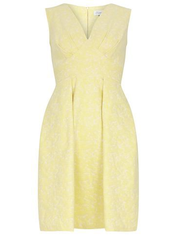 Womens **Closet Yellow V Neck Jacquard Dress Yellow - neckline: v-neck; sleeve style: sleeveless; secondary colour: ivory/cream; predominant colour: primrose yellow; occasions: evening, occasion; length: just above the knee; fit: fitted at waist & bust; style: fit & flare; fibres: polyester/polyamide - stretch; sleeve length: sleeveless; pattern type: fabric; pattern size: light/subtle; pattern: patterned/print; texture group: brocade/jacquard; season: s/s 2016; wardrobe: event