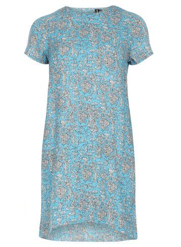 Womens **Izabel London Blue Patterened Shift Dress Blue - style: shift; length: mid thigh; secondary colour: white; predominant colour: diva blue; occasions: casual, creative work; fit: straight cut; fibres: polyester/polyamide - 100%; neckline: crew; sleeve length: short sleeve; sleeve style: standard; pattern type: fabric; pattern: patterned/print; texture group: other - light to midweight; season: s/s 2016; wardrobe: highlight