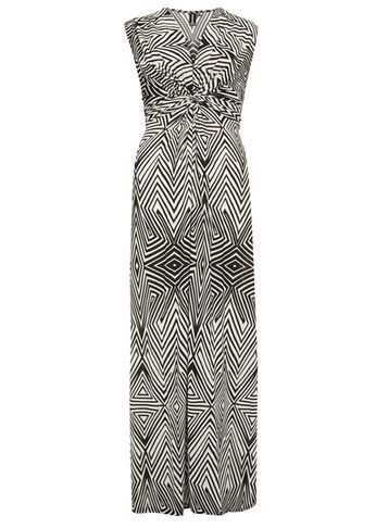 Womens **Izabel London Twist Front Geo Maxi Dress Black - neckline: v-neck; sleeve style: sleeveless; style: maxi dress; length: ankle length; secondary colour: white; predominant colour: black; occasions: evening; fit: body skimming; fibres: viscose/rayon - 100%; sleeve length: sleeveless; pattern type: fabric; pattern: patterned/print; texture group: jersey - stretchy/drapey; multicoloured: multicoloured; season: s/s 2016