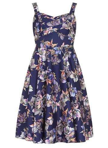 Womens **Izabel London Navy Summer Dress Blue - neckline: low v-neck; sleeve style: sleeveless; style: prom dress; secondary colour: lilac; predominant colour: navy; occasions: evening; length: just above the knee; fit: fitted at waist & bust; fibres: polyester/polyamide - 100%; sleeve length: sleeveless; pattern type: fabric; pattern: florals; texture group: other - light to midweight; multicoloured: multicoloured; season: s/s 2016; wardrobe: event