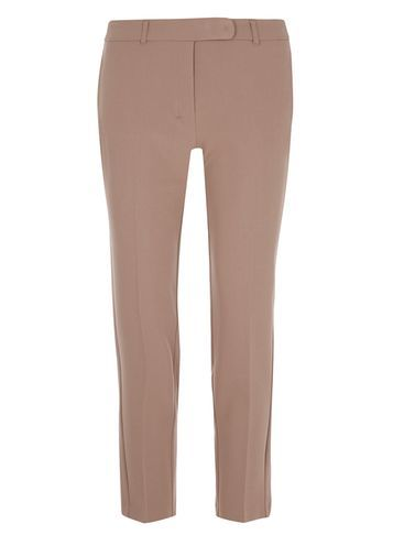 Womens Mocha Straight Leg Ankle Grazers Brown - length: standard; pattern: plain; waist: mid/regular rise; predominant colour: stone; occasions: casual, creative work; fibres: polyester/polyamide - stretch; texture group: cotton feel fabrics; fit: slim leg; pattern type: fabric; style: standard; season: s/s 2016; wardrobe: basic