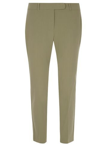 Womens Khaki Straight Leg Ankle Grazer Trousers Green - pattern: plain; waist: mid/regular rise; predominant colour: khaki; occasions: casual, creative work; length: ankle length; fibres: polyester/polyamide - stretch; fit: straight leg; pattern type: fabric; texture group: woven light midweight; style: standard; season: s/s 2016