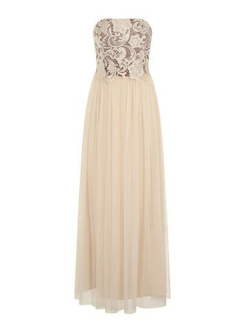 Womens **Little Mistress Beige Lace Bandeau Maxi Dress Cream - neckline: strapless (straight/sweetheart); pattern: plain; style: maxi dress; sleeve style: strapless; predominant colour: ivory/cream; occasions: evening; length: floor length; fit: body skimming; fibres: polyester/polyamide - 100%; sleeve length: sleeveless; texture group: sheer fabrics/chiffon/organza etc.; pattern type: fabric; embellishment: lace; season: s/s 2016; wardrobe: event
