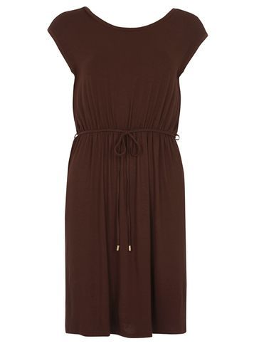 Womens Petite Chocolate Midi Dress Brown - style: shift; neckline: round neck; sleeve style: capped; pattern: plain; waist detail: belted waist/tie at waist/drawstring; predominant colour: chocolate brown; occasions: casual; length: on the knee; fit: body skimming; fibres: viscose/rayon - stretch; sleeve length: short sleeve; pattern type: fabric; texture group: jersey - stretchy/drapey; season: s/s 2016; wardrobe: basic