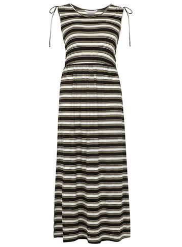 Womens Petite Khaki Maxi Dress Khaki - neckline: round neck; pattern: horizontal stripes; sleeve style: sleeveless; length: ankle length; secondary colour: white; predominant colour: black; occasions: casual; fit: soft a-line; style: fit & flare; fibres: polyester/polyamide - stretch; sleeve length: sleeveless; pattern type: fabric; texture group: jersey - stretchy/drapey; multicoloured: multicoloured; season: s/s 2016; wardrobe: basic