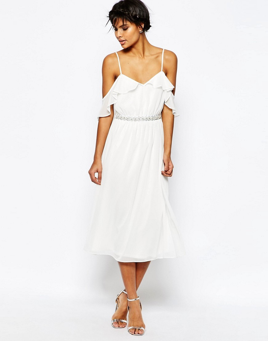 Cold Shoulder Midi Dress With Embellished Waist White - style: shift; length: below the knee; neckline: low v-neck; fit: fitted at waist; pattern: plain; predominant colour: white; fibres: polyester/polyamide - 100%; occasions: occasion; shoulder detail: cut out shoulder; sleeve length: short sleeve; sleeve style: standard; pattern type: fabric; texture group: other - light to midweight; season: s/s 2016; wardrobe: event