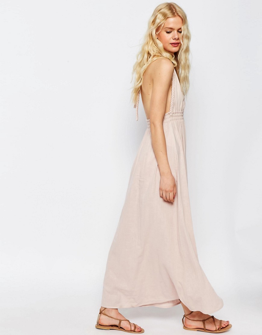 Plait Strap Maxi Dress Blush - fit: fitted at waist; pattern: plain; sleeve style: sleeveless; style: maxi dress; length: ankle length; neckline: low halter neck; predominant colour: blush; occasions: evening; fibres: cotton - 100%; sleeve length: sleeveless; pattern type: fabric; texture group: other - light to midweight; season: s/s 2016; wardrobe: event