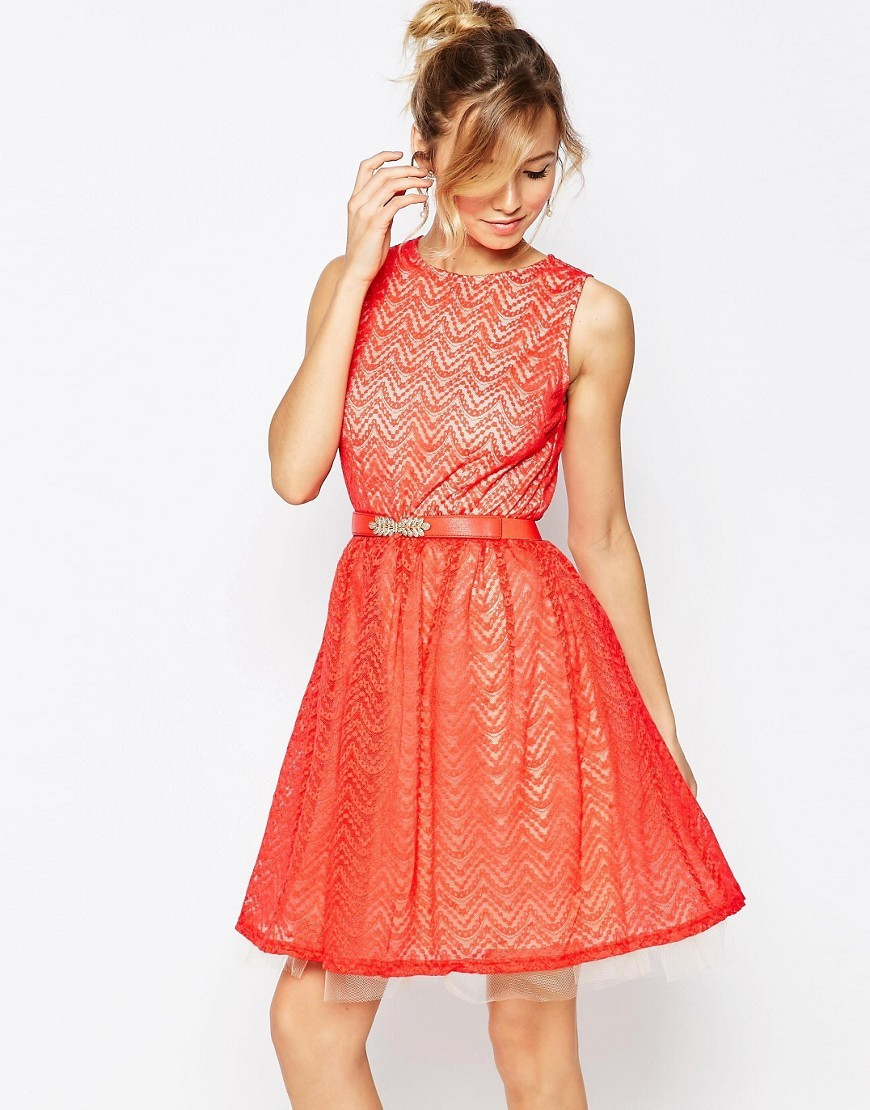 Skater Dress With Lace Overlay Red - pattern: plain; sleeve style: sleeveless; waist detail: belted waist/tie at waist/drawstring; predominant colour: bright orange; occasions: evening; length: just above the knee; fit: fitted at waist & bust; style: fit & flare; neckline: crew; sleeve length: sleeveless; texture group: lace; pattern type: fabric; fibres: nylon - stretch; season: s/s 2016; wardrobe: event