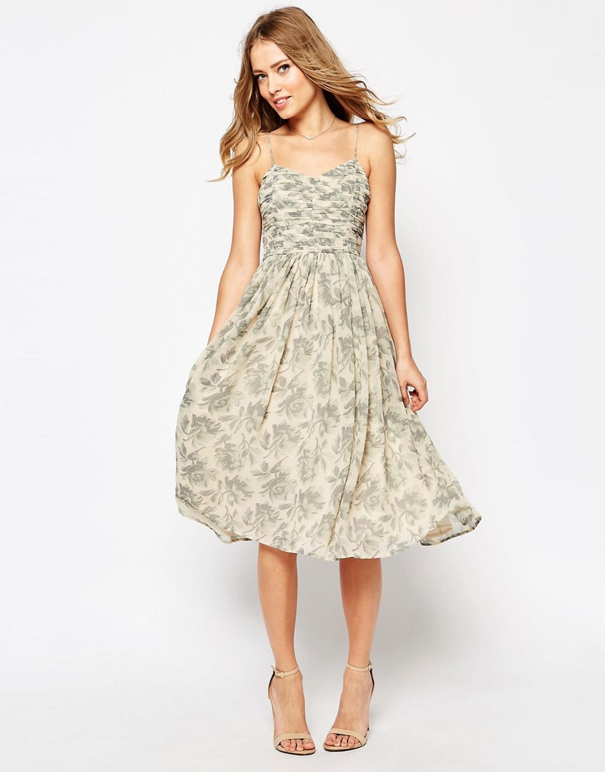 Wedding Rouched Midi Dress In Print Print - length: calf length; neckline: low v-neck; sleeve style: spaghetti straps; style: prom dress; predominant colour: ivory/cream; secondary colour: mid grey; occasions: evening; fit: straight cut; fibres: polyester/polyamide - 100%; sleeve length: sleeveless; pattern type: fabric; pattern: patterned/print; texture group: jersey - stretchy/drapey; multicoloured: multicoloured; season: s/s 2016; wardrobe: event