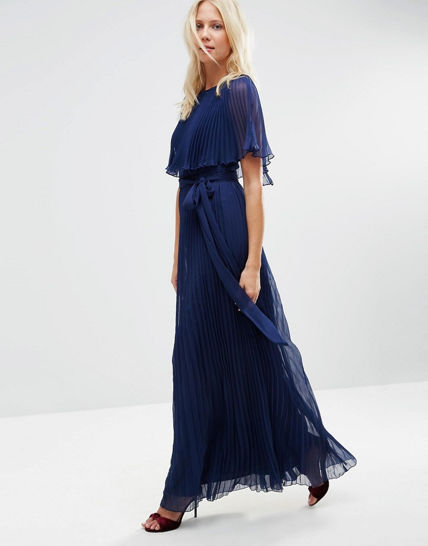 Ruffle Cape Front Pleated Maxi Dress Navy - pattern: plain; style: maxi dress; length: ankle length; bust detail: subtle bust detail; predominant colour: navy; occasions: evening; fit: body skimming; fibres: polyester/polyamide - 100%; neckline: crew; sleeve length: half sleeve; sleeve style: standard; texture group: sheer fabrics/chiffon/organza etc.; pattern type: fabric; season: s/s 2016; wardrobe: event