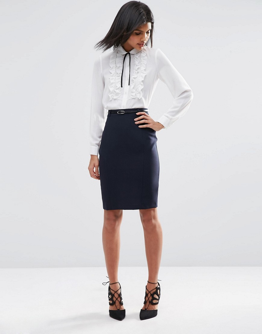 Belted Pencil Skirt With Seam Detail Navy - pattern: plain; style: pencil; fit: tight; waist detail: belted waist/tie at waist/drawstring; waist: mid/regular rise; predominant colour: navy; occasions: evening; length: on the knee; fibres: polyester/polyamide - 100%; texture group: jersey - clingy; pattern type: fabric; season: s/s 2016