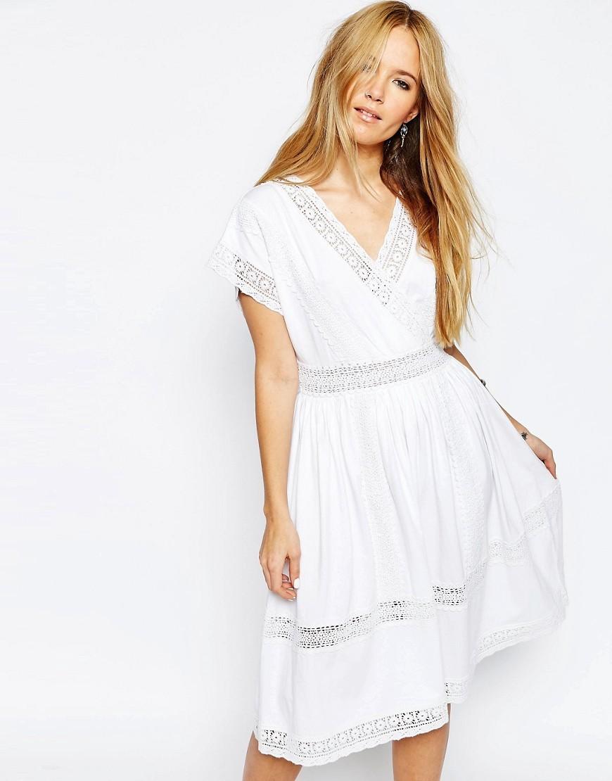 Wrap Full Midi Dress With Lace Inserts White - style: shift; length: below the knee; neckline: low v-neck; fit: fitted at waist; predominant colour: white; occasions: casual, holiday, creative work; fibres: cotton - 100%; sleeve length: short sleeve; sleeve style: standard; texture group: lace; pattern type: fabric; pattern: patterned/print; embellishment: lace; season: s/s 2016; wardrobe: highlight; embellishment location: trim, waist