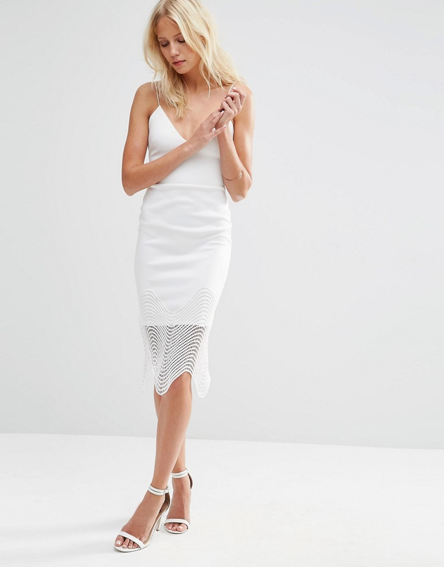 Deep Plunge Lace Trim Pencil Dress Ivory - length: below the knee; neckline: low v-neck; sleeve style: spaghetti straps; fit: tight; pattern: plain; style: bodycon; predominant colour: ivory/cream; occasions: evening; fibres: polyester/polyamide - stretch; sleeve length: sleeveless; texture group: jersey - clingy; pattern type: fabric; season: s/s 2016; wardrobe: event