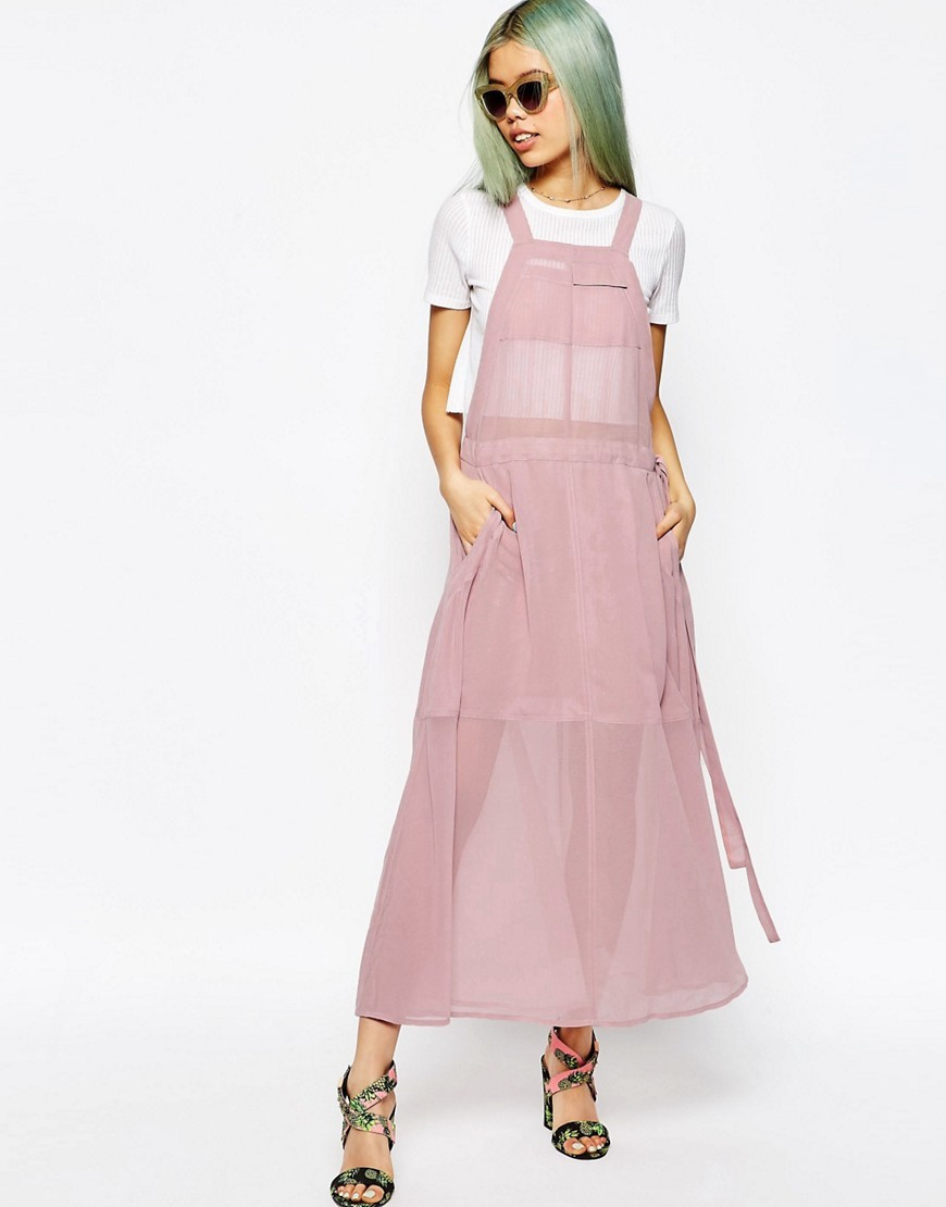 Dungaree Maxi Dress Pink - pattern: plain; sleeve style: sleeveless; style: maxi dress; length: ankle length; predominant colour: blush; occasions: evening; fit: body skimming; fibres: polyester/polyamide - 100%; sleeve length: sleeveless; texture group: sheer fabrics/chiffon/organza etc.; neckline: medium square neck; pattern type: fabric; season: s/s 2016; wardrobe: event