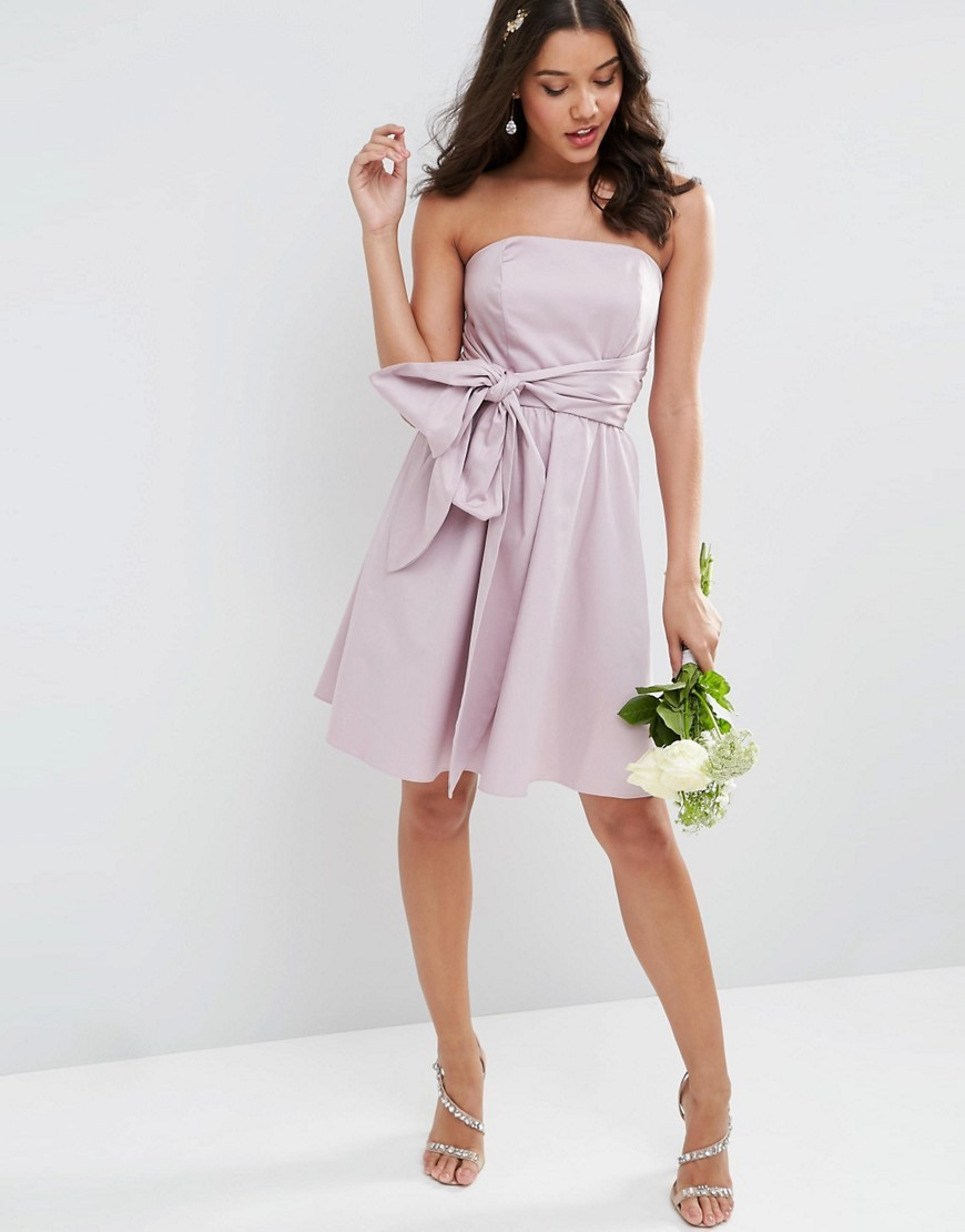 Wedding Structured Mini Dress With Bow Detail Dusty Lilac - neckline: strapless (straight/sweetheart); pattern: plain; sleeve style: strapless; waist detail: belted waist/tie at waist/drawstring; predominant colour: lilac; occasions: evening, occasion; length: on the knee; fit: fitted at waist & bust; style: fit & flare; fibres: cotton - stretch; sleeve length: sleeveless; texture group: crepes; pattern type: fabric; season: s/s 2016; wardrobe: event