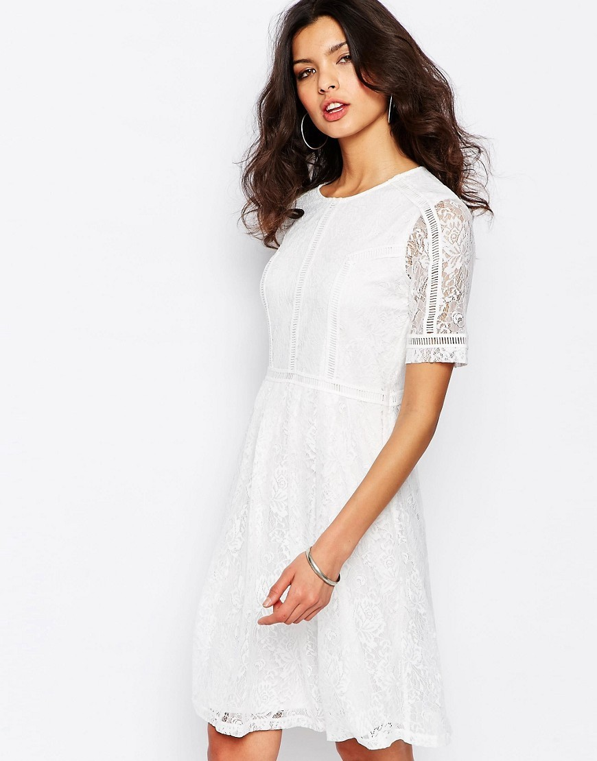 Dress With Lace Inserts White - pattern: plain; predominant colour: white; occasions: evening; length: on the knee; fit: fitted at waist & bust; style: fit & flare; fibres: polyester/polyamide - stretch; neckline: crew; sleeve length: short sleeve; sleeve style: standard; texture group: lace; pattern type: fabric; embellishment: lace; season: s/s 2016