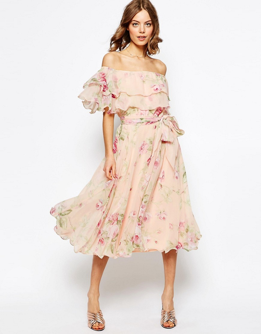 Floral Bardot Off The Shoulder Midi Prom Dress With Multi Ruffle Multi - length: calf length; neckline: off the shoulder; sleeve style: puffed; fit: loose; style: sundress; waist detail: belted waist/tie at waist/drawstring; predominant colour: blush; secondary colour: hot pink; occasions: evening; fibres: polyester/polyamide - 100%; sleeve length: short sleeve; texture group: sheer fabrics/chiffon/organza etc.; pattern type: fabric; pattern: florals; multicoloured: multicoloured; season: s/s 2016; wardrobe: event