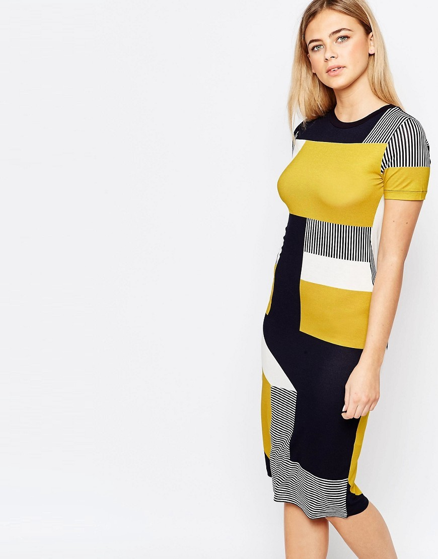 Bold Colour Block T Shirt Dress Navy And Green - style: t-shirt; fit: tight; predominant colour: navy; secondary colour: yellow; occasions: casual; length: on the knee; fibres: viscose/rayon - stretch; neckline: crew; sleeve length: short sleeve; sleeve style: standard; pattern type: fabric; pattern size: standard; pattern: colourblock; texture group: jersey - stretchy/drapey; multicoloured: multicoloured; season: s/s 2016; wardrobe: highlight