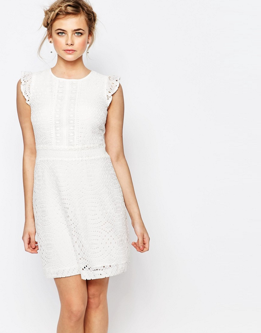 Premium Lace Skater Dress With Ruffle Detail Off White - length: mid thigh; pattern: plain; sleeve style: sleeveless; predominant colour: ivory/cream; fit: fitted at waist & bust; style: fit & flare; fibres: polyester/polyamide - mix; occasions: occasion; neckline: crew; sleeve length: sleeveless; texture group: lace; pattern type: fabric; season: s/s 2016; wardrobe: event