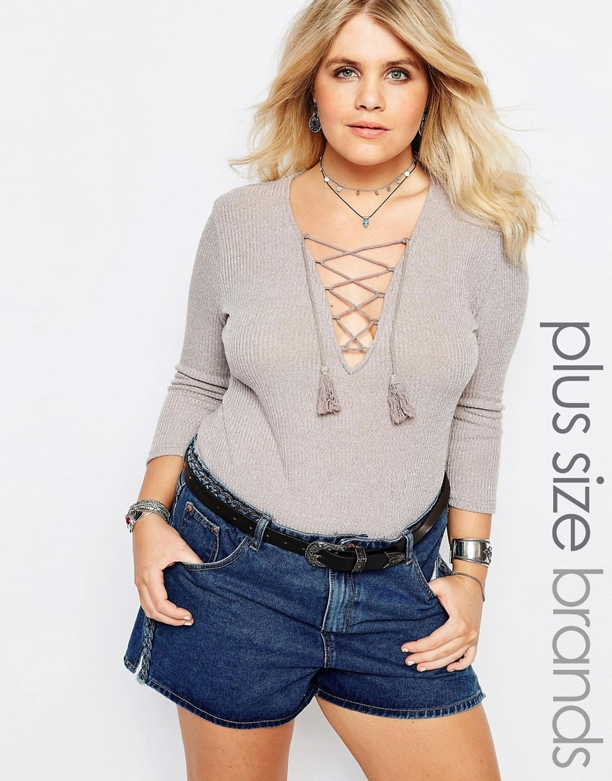 Plunge Front Body With Tassels Grey - neckline: low v-neck; pattern: plain; predominant colour: light grey; occasions: casual; length: standard; fibres: polyester/polyamide - 100%; fit: tight; sleeve length: long sleeve; sleeve style: standard; texture group: jersey - clingy; pattern type: fabric; style: bodysuit; season: s/s 2016; wardrobe: basic