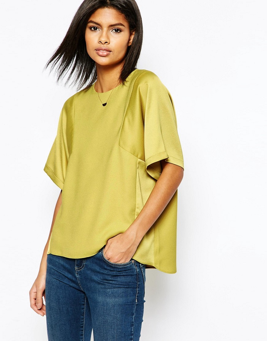Matte And Shine Insert Tee Green - pattern: plain; style: t-shirt; hip detail: fitted at hip; predominant colour: lime; occasions: casual; length: standard; fibres: polyester/polyamide - 100%; fit: loose; neckline: crew; sleeve length: half sleeve; sleeve style: standard; pattern type: fabric; texture group: other - light to midweight; season: s/s 2016; wardrobe: highlight