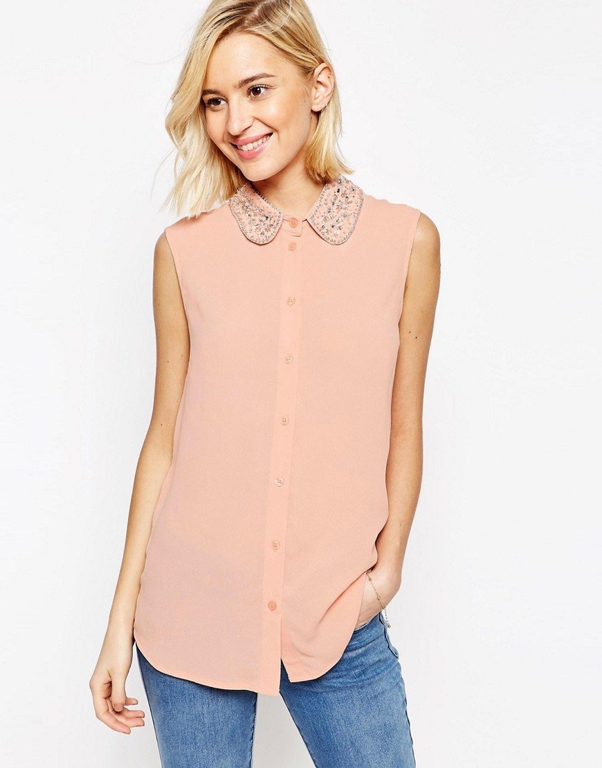 Sleeveless Embellished Collar Blouse Blush - pattern: plain; sleeve style: sleeveless; back detail: racer back/sports back; style: blouse; predominant colour: blush; occasions: casual; length: standard; fibres: viscose/rayon - 100%; fit: body skimming; neckline: no opening/shirt collar/peter pan; sleeve length: sleeveless; pattern type: fabric; texture group: other - light to midweight; embellishment: beading; season: s/s 2016; wardrobe: highlight