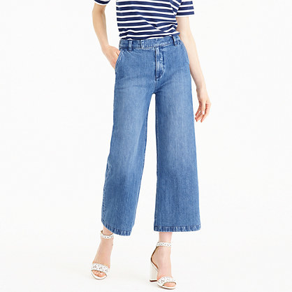Rayner Trouser - pattern: plain; waist: high rise; style: wide leg; predominant colour: denim; occasions: casual, creative work; length: calf length; fibres: cotton - stretch; jeans detail: shading down centre of thigh; texture group: denim; pattern type: fabric; season: s/s 2016