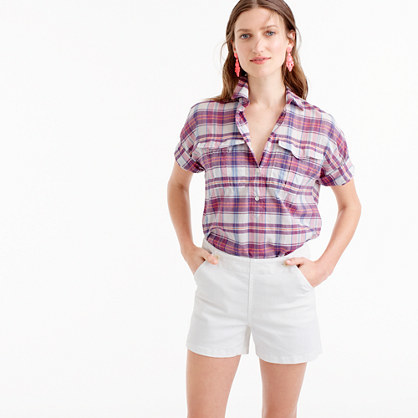 Denim Sailor Short In White - pattern: plain; waist: high rise; predominant colour: white; occasions: casual, holiday; fibres: cotton - stretch; texture group: denim; pattern type: fabric; season: s/s 2016; style: shorts; length: short shorts; fit: slim leg; wardrobe: holiday