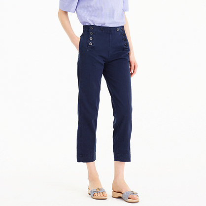 Sailor Pant In Chino - pattern: plain; waist: high rise; predominant colour: navy; occasions: casual, creative work; length: calf length; style: chino; fibres: cotton - stretch; texture group: cotton feel fabrics; fit: slim leg; pattern type: fabric; season: s/s 2016; wardrobe: basic