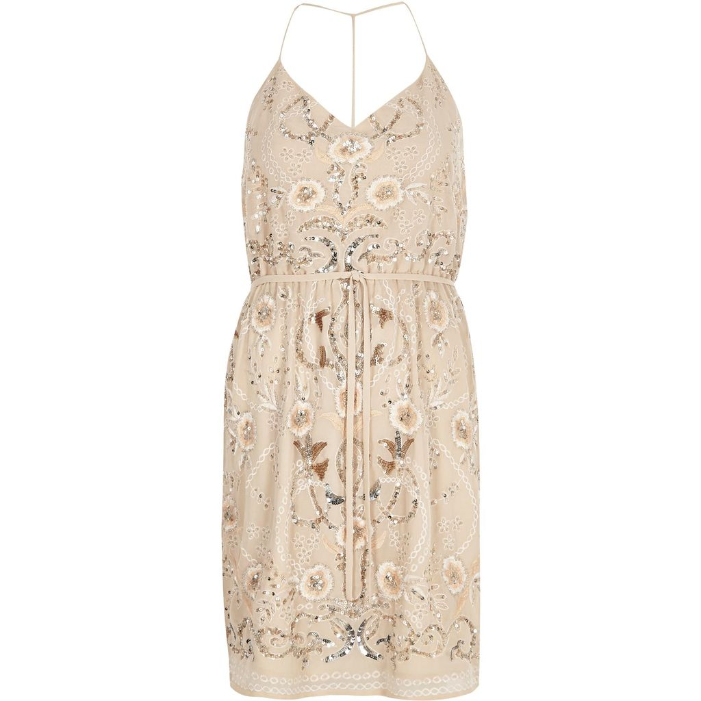 Womens Nude Embellished Dress - length: mid thigh; neckline: v-neck; sleeve style: spaghetti straps; waist detail: belted waist/tie at waist/drawstring; predominant colour: blush; occasions: evening; fit: body skimming; style: slip dress; fibres: polyester/polyamide - 100%; sleeve length: sleeveless; pattern type: fabric; pattern: florals; texture group: other - light to midweight; embellishment: sequins; season: s/s 2016; wardrobe: event