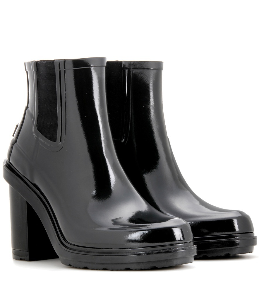 Original Refined High Heel Rubber Chelsea Boots - predominant colour: black; occasions: casual; material: plastic/rubber; heel height: high; heel: block; toe: round toe; boot length: ankle boot; finish: patent; pattern: plain; shoe detail: platform; style: chelsea; season: s/s 2016; wardrobe: highlight