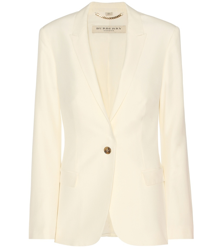 Larston Silk Jacket - pattern: plain; style: single breasted blazer; collar: standard lapel/rever collar; predominant colour: ivory/cream; length: standard; fit: tailored/fitted; fibres: silk - mix; sleeve length: long sleeve; sleeve style: standard; texture group: structured shiny - satin/tafetta/silk etc.; collar break: low/open; pattern type: fabric; occasions: creative work; season: s/s 2016; wardrobe: highlight