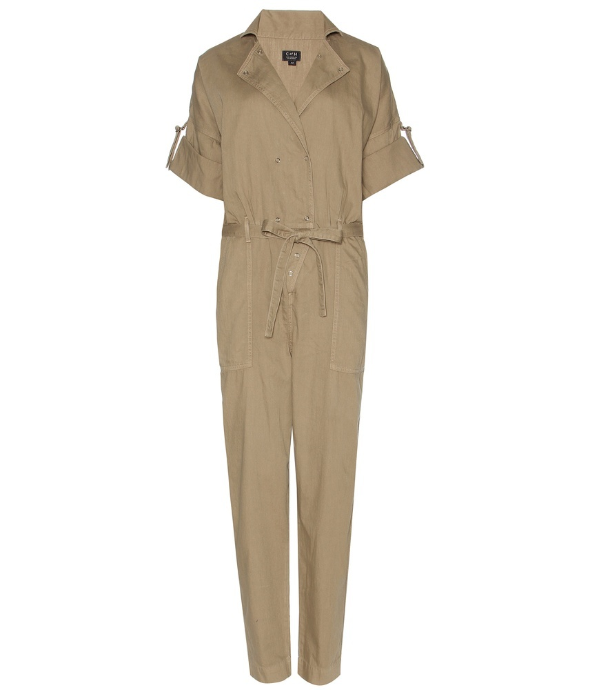 Sierra Cotton Jumpsuit - length: standard; neckline: shirt collar/peter pan/zip with opening; pattern: plain; waist detail: belted waist/tie at waist/drawstring; predominant colour: nude; occasions: casual; fit: body skimming; fibres: cotton - 100%; sleeve length: half sleeve; sleeve style: standard; texture group: cotton feel fabrics; style: jumpsuit; pattern type: fabric; season: s/s 2016; wardrobe: highlight