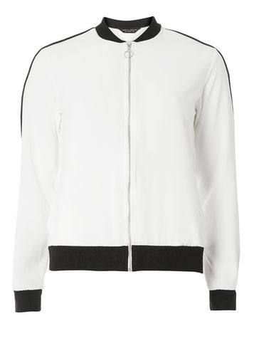 Womens Ivory Bomber Jacket White - collar: round collar/collarless; style: bomber; predominant colour: white; secondary colour: black; occasions: casual; length: standard; fit: straight cut (boxy); fibres: polyester/polyamide - 100%; sleeve length: long sleeve; sleeve style: standard; trends: monochrome; texture group: crepes; collar break: high; pattern type: fabric; pattern size: standard; pattern: colourblock; season: s/s 2016; wardrobe: highlight