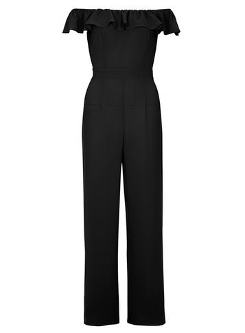 Womens Black Bardot Jumpsuit Black - length: standard; neckline: off the shoulder; fit: tailored/fitted; pattern: plain; predominant colour: black; occasions: evening, occasion; fibres: polyester/polyamide - stretch; sleeve length: short sleeve; sleeve style: standard; style: playsuit; pattern type: fabric; texture group: jersey - stretchy/drapey; season: s/s 2016; wardrobe: event