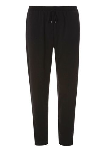 Womens Black Piped Joggers Black - length: standard; pattern: plain; style: tracksuit pants; waist detail: belted waist/tie at waist/drawstring; waist: mid/regular rise; predominant colour: black; occasions: casual; fibres: polyester/polyamide - 100%; fit: slim leg; pattern type: fabric; texture group: woven light midweight; season: s/s 2016; wardrobe: basic
