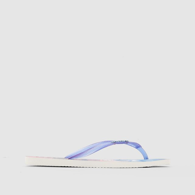 Hav. Slim Paisage - predominant colour: diva blue; occasions: casual, holiday; material: plastic/rubber; heel height: flat; heel: block; toe: toe thongs; style: flip flops; finish: plain; pattern: plain; season: s/s 2016; wardrobe: highlight
