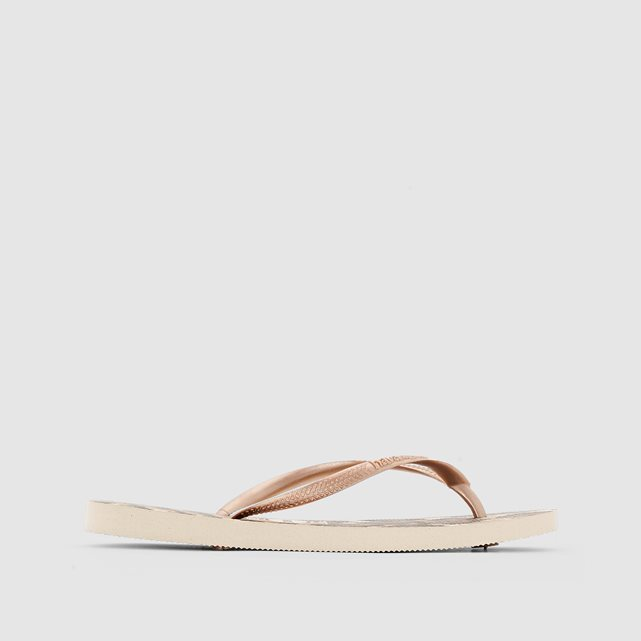 Flip Flops. Slim Animals - predominant colour: gold; material: plastic/rubber; heel height: flat; heel: standard; toe: toe thongs; style: flip flops; occasions: holiday; finish: metallic; pattern: animal print; season: s/s 2016