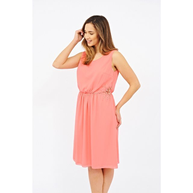 Sleeveless Jewelled Dress - style: shift; neckline: round neck; pattern: plain; sleeve style: sleeveless; predominant colour: pink; occasions: evening; length: on the knee; fit: body skimming; fibres: polyester/polyamide - 100%; sleeve length: sleeveless; texture group: sheer fabrics/chiffon/organza etc.; pattern type: fabric; season: s/s 2016; wardrobe: event